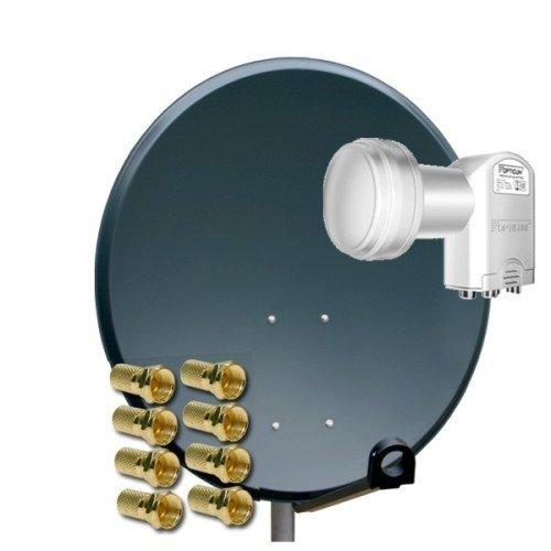 PremiumX Digitale SAT Anlage 80 cm + Opticum Quad 0,1dB LNB 4 Teilnehmer + 8 F-Stecker 7mm vergoldet