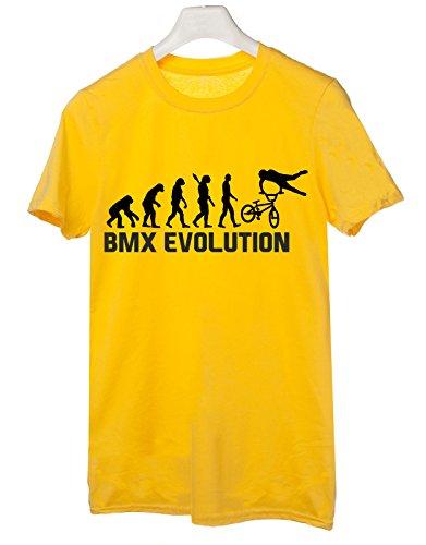 Tshirt Bmx Evolution - evolution - bmx - trick - sport - humor - in cotone Giallo