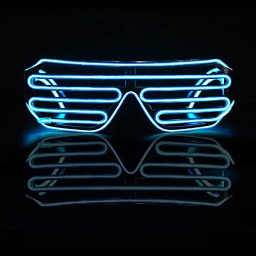 Smyidel EL Wire Leuchtbrille Leuchten Cool Brille,LED Partybrille Glühen Auge Brille Spielzeug Gläser für Holloween,Weihnachten, Nacht Party, Kostüm Konzert Rave,Nacht Aktivitäte,Bar Disko (Blau 1)