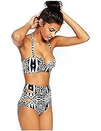 SODIAL(R) Women's Halter Geometric Print High Waisted Swimsuit Bathing Suits Bikini Black+White S