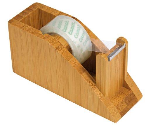 Wedo 61907 Klebefilm Abroller Bambus, 11,8 x 4,2 x 5,8 cm, inkl. 1 Rolle, im Geschenkkarton, braun