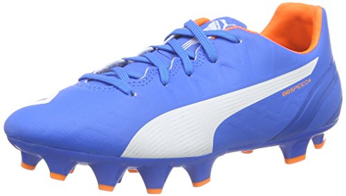 Puma evoSPEED 4.4 FG Unisex-Kinder Fußballschuhe Blau (electric blue lemonade-white-orange clown fish 03)