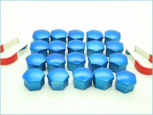 20x Cache ecrou de roue Universel en Bleu 17mm Hex avec Outils de Suppression