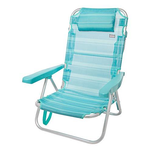 Aktive 53963 Silla multiposición Aluminio Beach, 108 x 60 x 82 cm, Azul Claro