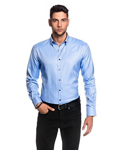 embrær Camicia da uomo Slim Fit Oxford ferro semplice a maniche lunghe tinta unita ice-blue 40