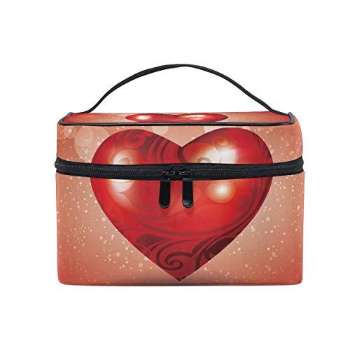 Sacchetto cosmetico portatile per appendere il trucco,travel cosmetic bag romantic heart valentine's day toiletry makeup bag pouch tote case organizer storage for women girls
