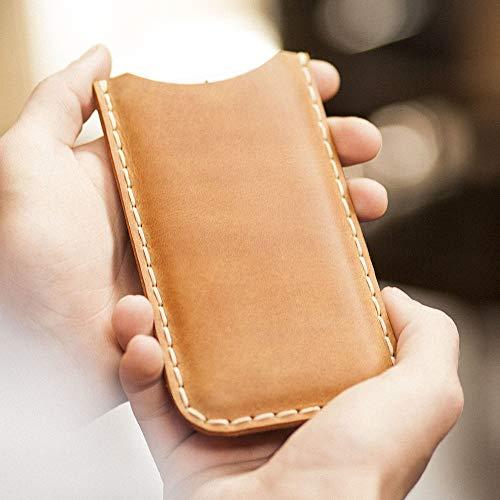 Étui brun clair pour iPhone XS Max, 8 Plus, 7 Plus, 6/6s Plus en cuir véritable. Coque housse etui case cover pochette