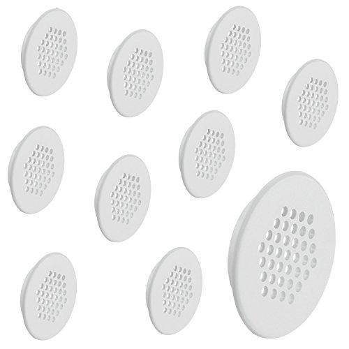 10 Stück - GedoTec® Möbel-Gitter Lüftungsgitter rund Abluftgitter weiß mit Lamellen für Möbel & Wohnmobil | Belüftungsgitter Ø 48 mm | Türgitter rund aus Kunststoff | Möbelbeschläge von GedoTec®
