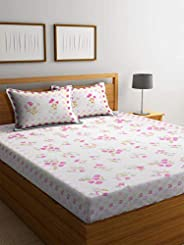 Boutique Bedding Queen Size 100 Cotton 220TC Bedsheet with 2 Pillow Covers (Floral Light Pink, 235x225 cm)