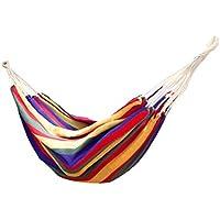 Lumaland amaca in cotone, circa 210 x 150 cm, carico massimo 300 kg arcobaleno rosso, kit di fissaggio e borsa inclusi