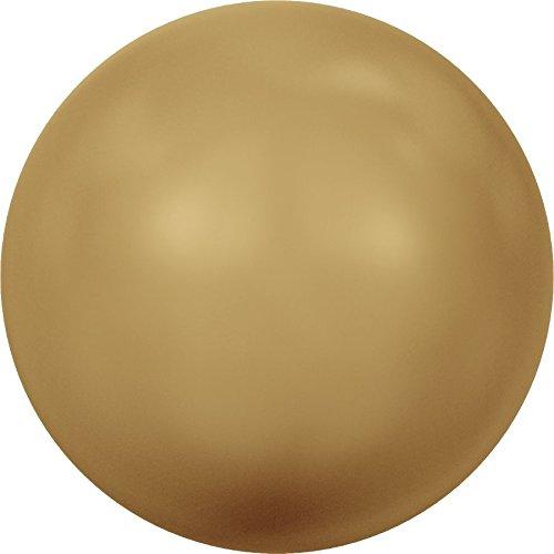 Swarovski Crystal Grande Rotonda Perle, Bright Gold Pearl, 14mm - Pack of 2