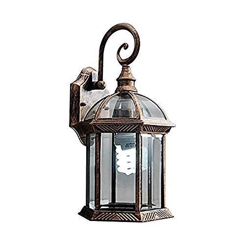 Linterna de pared exterior de 6 lados Lámpara de pared de metal...