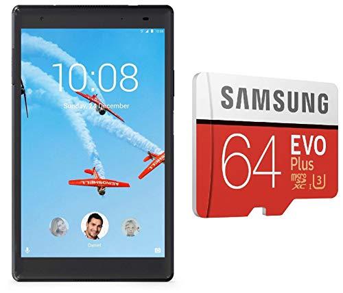Lenovo Tab4 8 Plus Tablet (8 inch, 64GB, Wi-Fi + 4G LTE + Voice Calling), Aurora Black + Samsung 64GB EVO Plus Memory Card Combo
