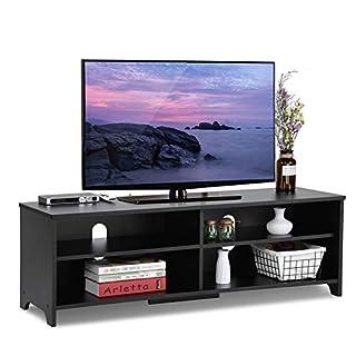 ADD ONE +1 Wood TV Stand Storage Console, Black
