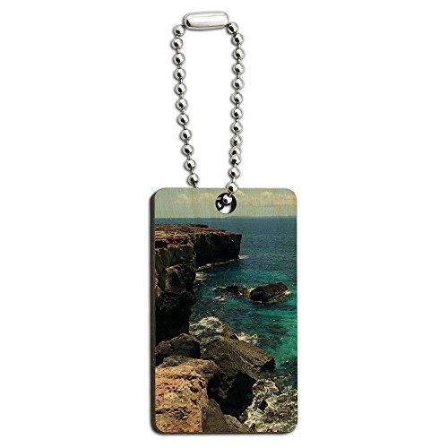 caribee-mallorca-cala-rocky-shore-ocean-bleu-deau-en-bois-rectangle-cle-chaine