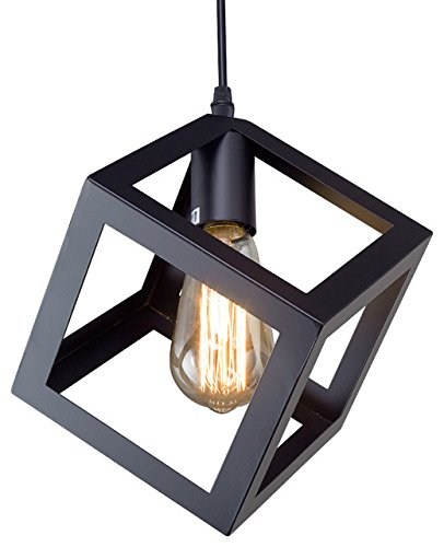 Edison Filament Hanging Cube, E27 Holder, Decorative, Black color, URBAN Retro, nordic style.
