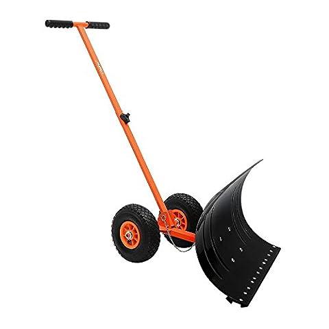 Ohuhu® Schneeschieber einstellbar Rad-schneeschaufel schwerlast mit 2 extra große Räder, 5 Stufen höhenverstellbar