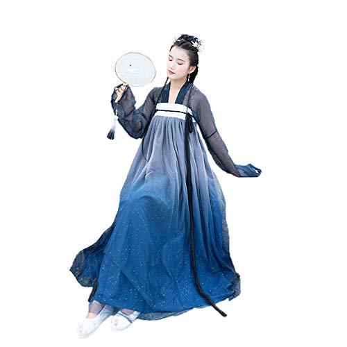 ches Hanfu, dünnes Weinlese-sternenklares Gewebe chinesisches Kleidfotoaufnahmekleidung Cosplay Tanz-Kostüme 3 Klagen,M ()