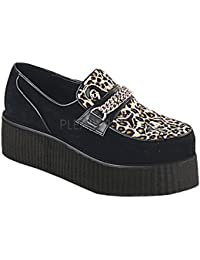 Demonia CREEPER-400-0 Hombre, Negro (Blk Suede-Cheetah Fur), 39