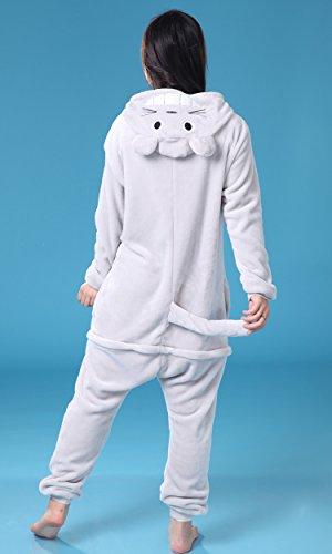 MissFox Kigurumi Pyjama Erwachsene Anime Cosplay Halloween Kostüm Sleepsuit Cosplay Fleece-Overall Kleidung Totoro