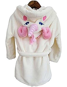 YOGLY Albornoz Para Niños Toalla con Capucha Bata de Baño con Capucha de la de Felpa Pijamas Camisón 1-5 Años