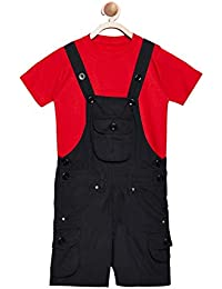 5750bf6ffda FirstClap Cotton Knee Length Black Dungaree and Yellow T-Shirt for  Kids