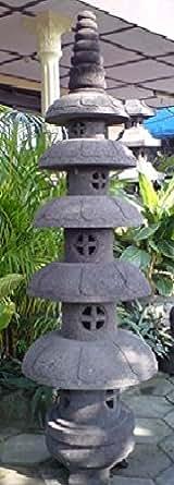 Lanterne Japonaise Lanterne japonaise pagode zen en pierre de lave 1.50 m BONAREVA