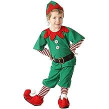 Fossen Disfraz Elfo Navidad Niñas Niños 2-16 Años Tops + Pantalones + Gorra  + 98b81445b9d