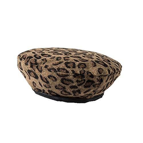 J-TUMIA Frauen Wolle Klassische Mütze Hut warme Leopard -