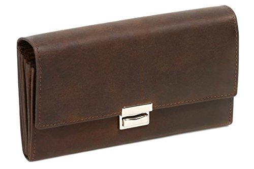 LEAS Kellner-, Taxifahrer- & Truckerbörse im Vintage-Stil Echt-Leder, dunkelbraun Vintage