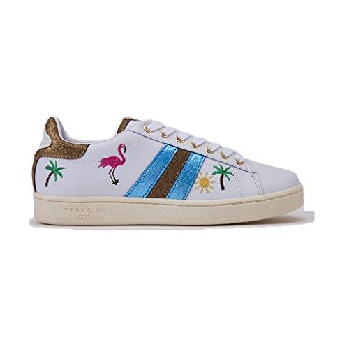 Serafini Sneakers JCONNORSJCO03/WHITE Tropical, CON Laccio e applicazioni, Colore Bianco, In Pelle, Nuova Collezione Primavera Estate 2018