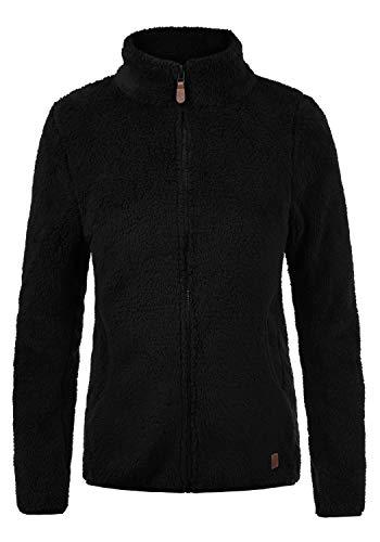 DESIRES Telsa Damen Fleecejacke Teddyfleece Zip-Jacke Sweatjacke Mit Stehkragen Und Taschen, Größe:S, Farbe:Black (9000)