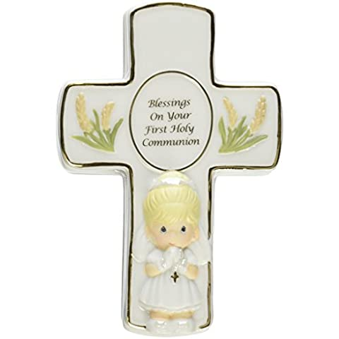 Preziosi momenti Benedizioni sul tuo primo Comunione Confezione rivestita con rosario Girl Figurine