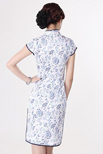 Bigood Cheongsam Femme Robe Classique Fendue Latéral Manche Courte Eté Bleu