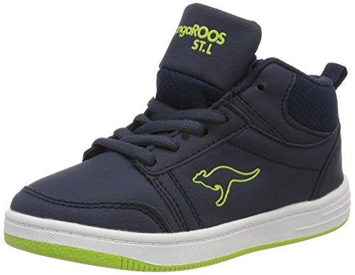 KangaROOS Unisex-Kinder Base Hi Hohe Sneaker, Blau (Dk Navy/Lime), 32 EU