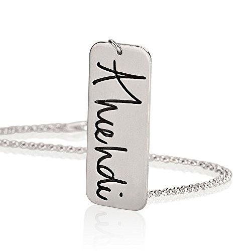 Personalisierte Signatur Vertikale Bar Halskette mit Ihrer aktuellen Handschrift, handgeschriebenem Schmuck, Sterlingsilber (Personalisierte Signatur-schmuck)