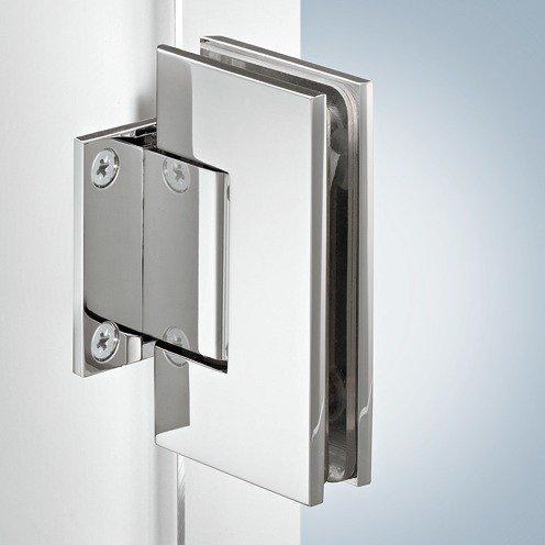 GedoTec® Dusch-Türband gerade Glastürbeschlag VITA-300 für Glastüren und Duschen mit Schließautomatik   Glastürband für Glasdicke 8 - 12 mm   Glastür-Scharnier mit Öffnungswinkel 90°   Messing verchromt poliert   Markenqualität für Ihren Wohnbereich