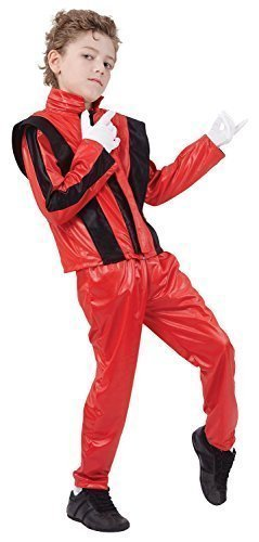 Fancy Me Jungen Roten Music Prominent Berühmt Person König von Pop 1980s 1990s Kostüm Kleid Outfit 4-14 Jahre - Rot, 12-14 Years (Berühmte Personen Kostüme)