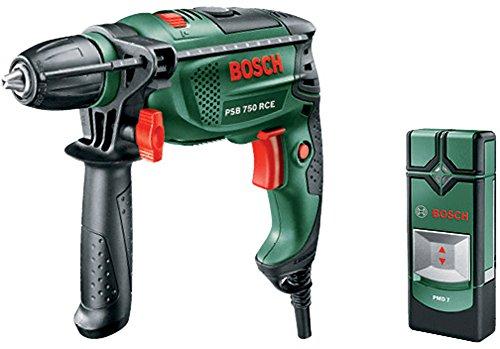 Preisvergleich Produktbild Bosch Schlagbohrmaschine PSB 750 RCE (Zusatzhandgriff, Tiefenanschlag, Koffer, 750 Watt) + Bosch Digitales Ortungsgerät PMD 7 (3x AAA (1,5 Ah) Batterien, Verpackungsbox)