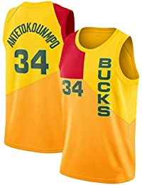 CRBsports Giannis Antetokounmpo, Camiseta De Baloncesto,Bucks,City Edition, Tela Bordada,