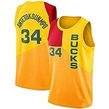 CRBsports Giannis Antetokounmpo, Camiseta De Baloncesto,Bucks,City Edition, Tela Bordada,