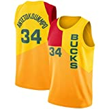 CRBsports Giannis Antetokounmpo, Camiseta De Baloncesto,Bucks,City Edition, Tela Bordada, Ropa Deportiva De Botín (Amarillo, M)