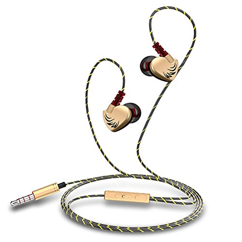 PTron Soundfire Stereo in-Ear Headset with Mic (Gold)
