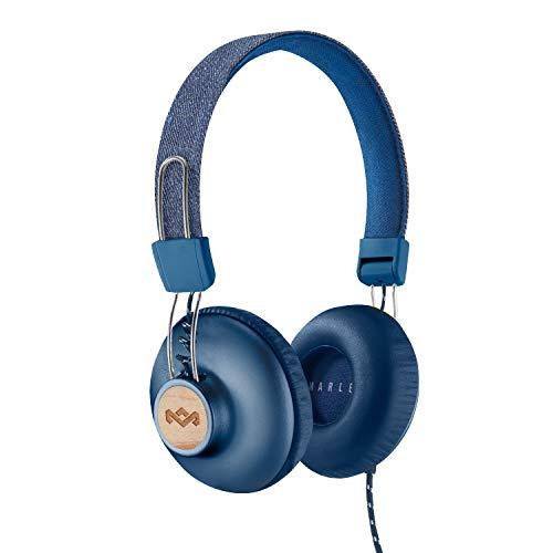 House of Marley Positive Vibration 2 - Faltbare Kopfhörer, bequemes Design, Geräuschisolierung, Premium Sound 50mm Treiber, Mikrofon, gewebte Kabel, nachhaltige Materialen - Denim