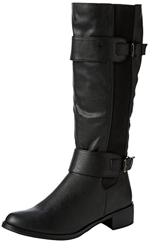 LADIES WOMENS ELASTICATED FAUX LEATHER RIDING KNEE WIDE CALF HIGH SHOE BOOT...