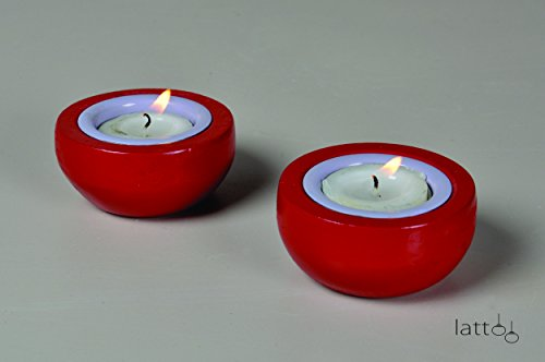 Lattoo Wooden And Aluminium Round Shape Set Of 2 Decorative Tealight Candle Holder For Home Décor | Red & White