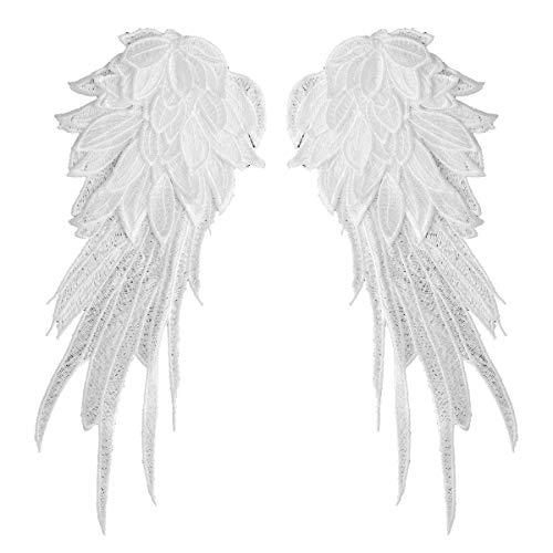 dPois 1 Paar Engelsflügel Bestickt Nähen Aufkleber Patch Aufkleber Weihnachten Engel Zubehör Karneval Fasching Halloween Kostüm Verkleidung Weinachtskostüm Weiß A L
