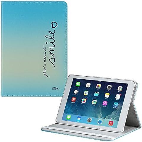 tinxi® PU piel funda para Apple iPad Mini / Mini 2 (Retina Display) Ledertasche 7,9 pulgadas (20,1 cm) popular y nuevo con el azul fondo y una sorisa (blue