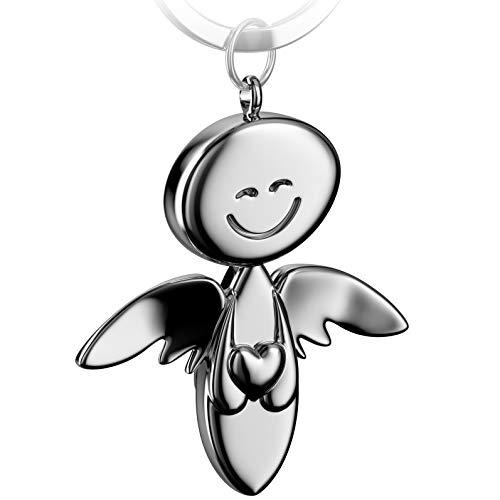 FABACH Schutzengel Schlüsselanhänger Smile mit Herz - Edler Engel Anhänger aus Metall in glänzendem Silber - Geschenk Glücksbringer Auto Führerschein - Fahr vorsichtig