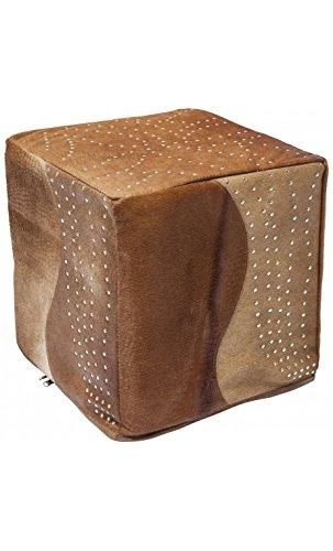 Kare design - Pouf cuir peau de vache et strass Montana